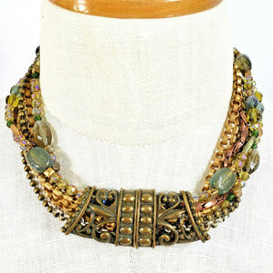 Chico's Beaded Necklace Multi Strand Antique Gold
